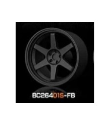 1:64 RACING Wheels & Tyres Set 7.4MM-8.9MM FLAT BLACK - 4 pcs