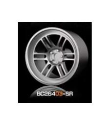 1:64 RACING Wheels & Tyres Set 8MM-9.8MM SILVER - 4 pcs