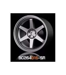 1:64 RACING Wheels & Tyres Set 7.4MM-8.9MM SILVER - 4 pcs