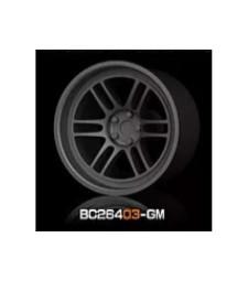 1:64 RACING Wheels & Tyres Set 8MM-9.8MM GUN METAL - 4 pcs