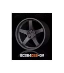 1:64 RACING Wheels & Tyres Set 7.4MM-8.9MM GUN METAL - 4 pcs