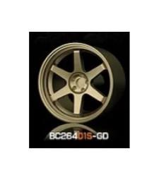 1:64 RACING Wheels & Tyres Set 7.4MM-8.9MM GOLD - 4 pcs