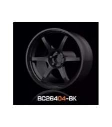 1:64 RACING Wheels & Tyres Set 8MM-9.8MM GLOSS BLACK - 4 pcs