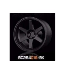 1:64 RACING Wheels & Tyres Set 7.4MM-8.9MM GLOSS BLACK - 4 pcs