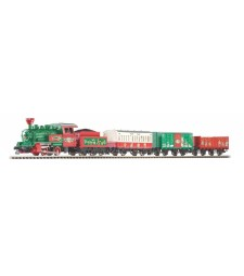 Christmas starter set steam locomotive with 3 cars, PIKO A-track with bedding