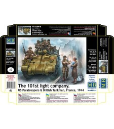 1:35 The 101st light company. US Paratroopers & British Tankman, France, 1944  - 9 figures