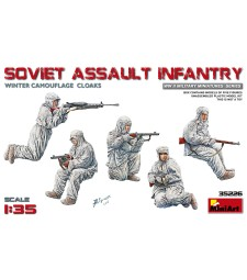 1:35 Soviet Assault Infantry (Winter Camouflage Cloaks) - 5 figures