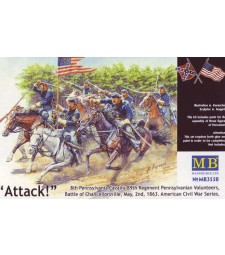 1:35 8th Pennsylvania Cavalry, 89th Regiment Pennsylvanian Volunteers, Battle of Chancellorsville, May, 2nd, 1863. American Civil War Series. Attack! - 3 figures