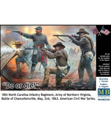 1:35 Do or die! 18th North Carolina Infantry Regiment, Army of Northern Virginia, Battle of Chancellorsville, May, 2nd, 1863. American Civil War Series - 4 figures