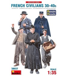 1:35 French Civilians '30-'40s. Resin Heads - 5 figures