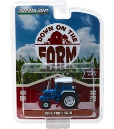 1984 Ford 5610 Tractor - Blue and Black with Enclosed Cab Solid Pack - Down on the Farm Series 2