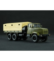 KRAZ-6322 flatbed truck with tent