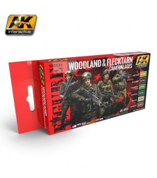 AK3250 WOODLAND AND FLECKTARN MODERN CAMOUFLAGES - Figures Series Set (6 x 17 ml)
