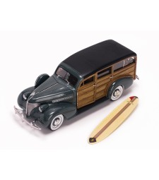 1939 Chevrolet Woody Surf Wagon - Granville Gray (With Surf Board) + Real Wood
