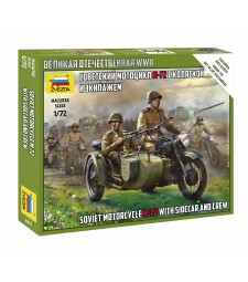1:72 Soviet Motorcycle M-72 with Sidecar and Crew - snap-fit