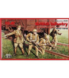 1:35 British Infantry (1917-1918) (4 figures - 1 officer, 3 soldiers)
