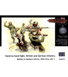 1:35 Hand-to-hand fight, British and German Infantry. Battles in Northern Africa. Kit 1 - 5 figures