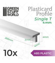 ABS Plasticard - T-Profile 4mm