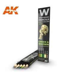 AK10040 WATERCOLOR PENCIL SET GREEN AND BROWN - 5 pencils