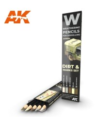 AK10044 WATERCOLOR PENCIL SET SPLASHES, DIRT AND MARKS (5 pieces)