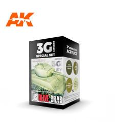 AK11643 US OLIVE DRAB MODULATION SET - (4 x 17 ml) - 3rd Generation Acrylic