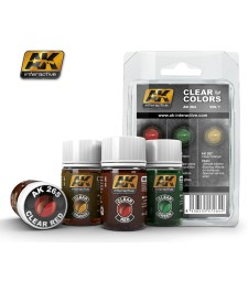 AK264 CLEAR COLORS SET 1 (RED-GREEN-ORANGE)  - Clear Sets (3 x 35 ml)