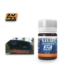 AK304 BROWN STREAKING GRIME FOR RED HULLS   (35 ml) - Weathering Products for Ships