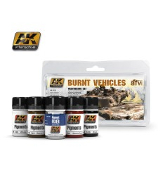 AK4120 BURNT VEHICLES  - Weathering Set (3 x 35 ml)