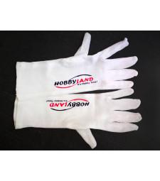 Pair of white gloves with Hobbyland logo