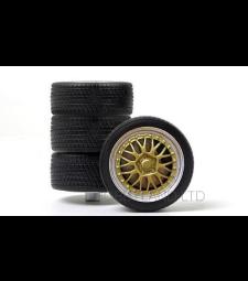 Rims wheel set - Tuning alloy wheels (2 x narrow, 2 x wide), silver / gold, 1993