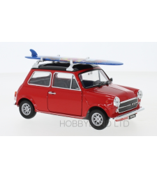 Mini Cooper 1300, red/black, with Surfboard, 1974