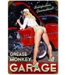 METAL PLATE - GREASE MONKEY GARAGE (20 X 30 cm)