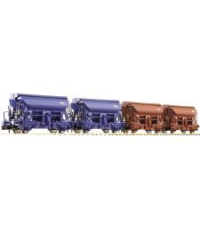 Set of 4 self-loading boxcars, Dutch Railways, epoch IV