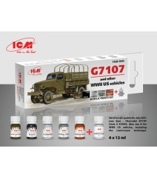 Acrylic Paint Set for G7107 (and other WW2 US vehicles) (6x12 ml)