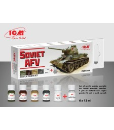 Acrylic Paint Set for Soviet AFV WWII (6x12 ml)