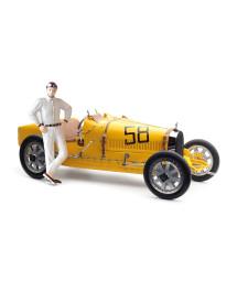 Bugatti Type 35 Grand Prix, Yellow Livery with a Female Racer Figurine (M-100 B-017)