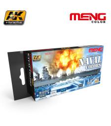 MC811 BRITISH AND US NAVY BASIC NAVAL COLORS  - MENG Line Acrylic Paint Set (6 x 17 ml)