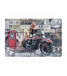 METAL PLATE - MOTO - GAS PUMP (20 x 30 cm)