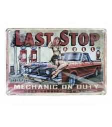 METAL PLATE - LAST STOP FUEL (20 x 30 cm)