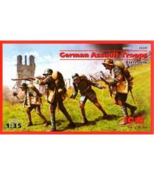 1:35 German Assault Troops (1917-1918) (4 figures - 1 unterofficer, 3 soldiers)