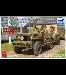 1:35 US GPW 1/4ton 4×4 Utility Truck (Mod.1942) w/10-cwt Trailer & Airborne Crew