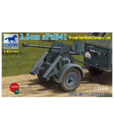 1:35 2.8cm sPzb41 On Larger Steel-Wheeled carriage w/Traile