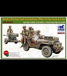 1:35 British 6 Pdr Anti-Tank Gun( Airborne)With 1/4 Ton Truck & Crew