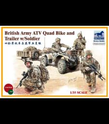1:35 British Army ATV Quad Bike and Trailer w/Soldier