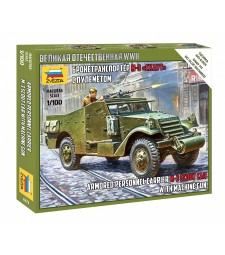 1:100 Armored personnel carrier M-3 SCOUT CAR car with machine gun - snap-fit
