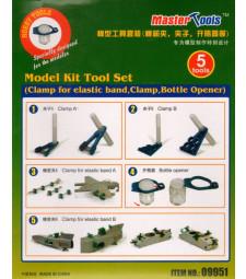 Model Kit Tool Set (Clamp for elastic band,Clamp,Bottle Opener)